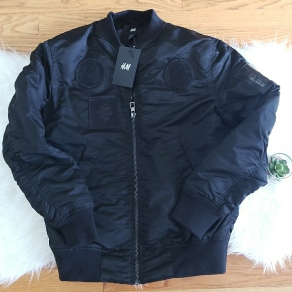 524534417 H&M XO Weekend Black Patch Bomber Jacket NWT